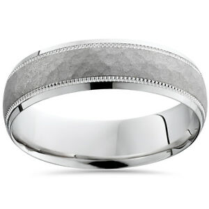 Hammered Solid 950 Palladium 6 MM Mens Wedding Ring Band Comfort Fit SZ 7-12
