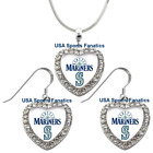 Seattle Mariners 925 Necklace / Earrings or Set Team Heart With Rhinestones