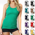 COTTON RIBBED RACERBACK TANK TOP Womens Stretch Long Workout Fitness Sport Yoga