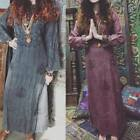 BOHO GYPSY HIPPIE LONG DRESS EMBROIDERED RAYON LONG SLEEVE WOMENS SHIFT DRESSES