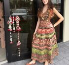 Jungle Love Elephant Print Vintage Block Printed Cotton Handmade Long Dress L