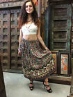 Boho Chic Ethnic Long Skirt Floral Print Cotton Blend Aline Flirty Long Skirts