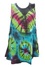 WOMEN'S TANK BLOUSE COLORFUL PRINTED RAYON PONCHO SLEEVELESS DRESS M