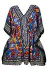 BOHO GYPSY HIPPIE SHORT CAFTAN PRINTED V NECK SWIMSUIT BEACH COVER UP DRESS