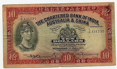 Image result for Hong Kong: P 55c Chartered Bank of India, Australia & China 1953 10 Dollars