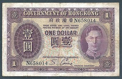 Image result for Hongkong Note one dollar ND 1936 P 312 VF