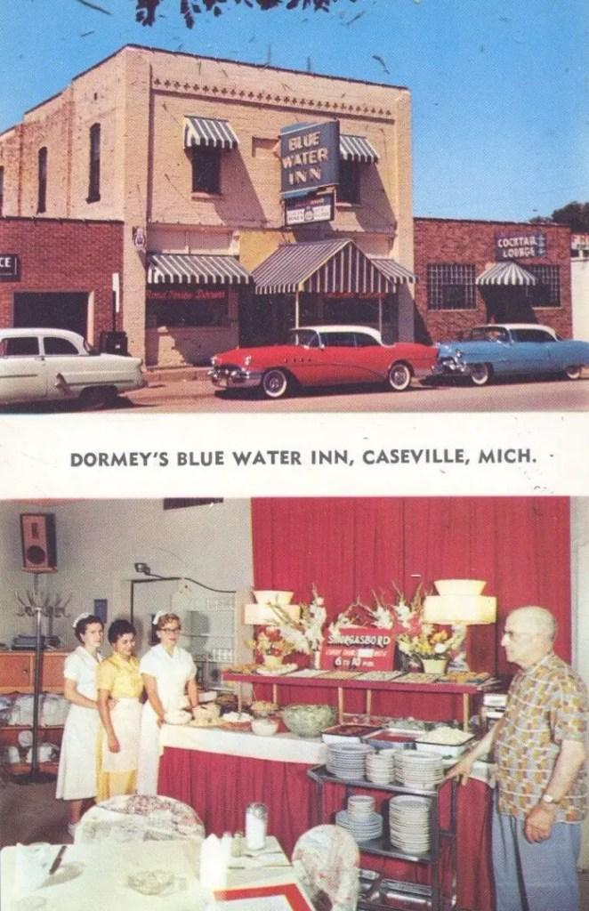 Caseville-Michigan-Blue-Water-Inn-Postcard-1952