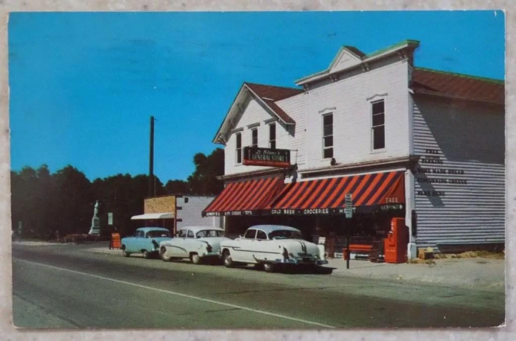 Caseville-Postcard-1954-LaBlance-General-Store