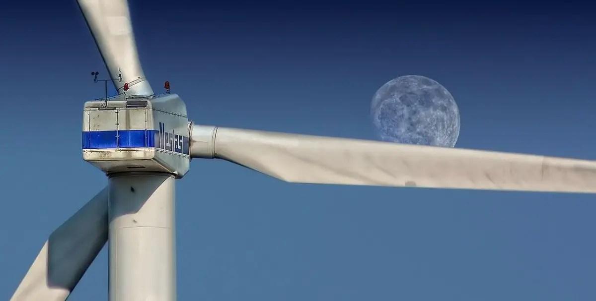 Wind Turbine and Moon