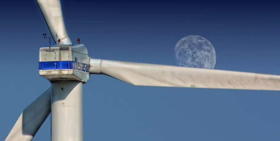 Wind Turbine and Moon