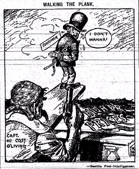 cost of living 1917 cartoon