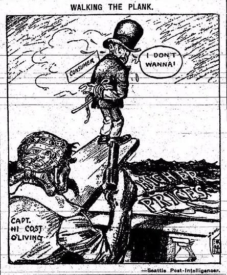 cost of living 1917 cartoon