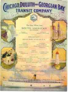 Color Menu from the SS South American