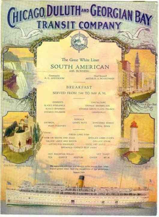 Color Menu from the SS South American - Great Lakes Cruising History