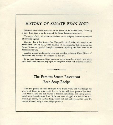 Senate Michigan Navy Bean Soup.