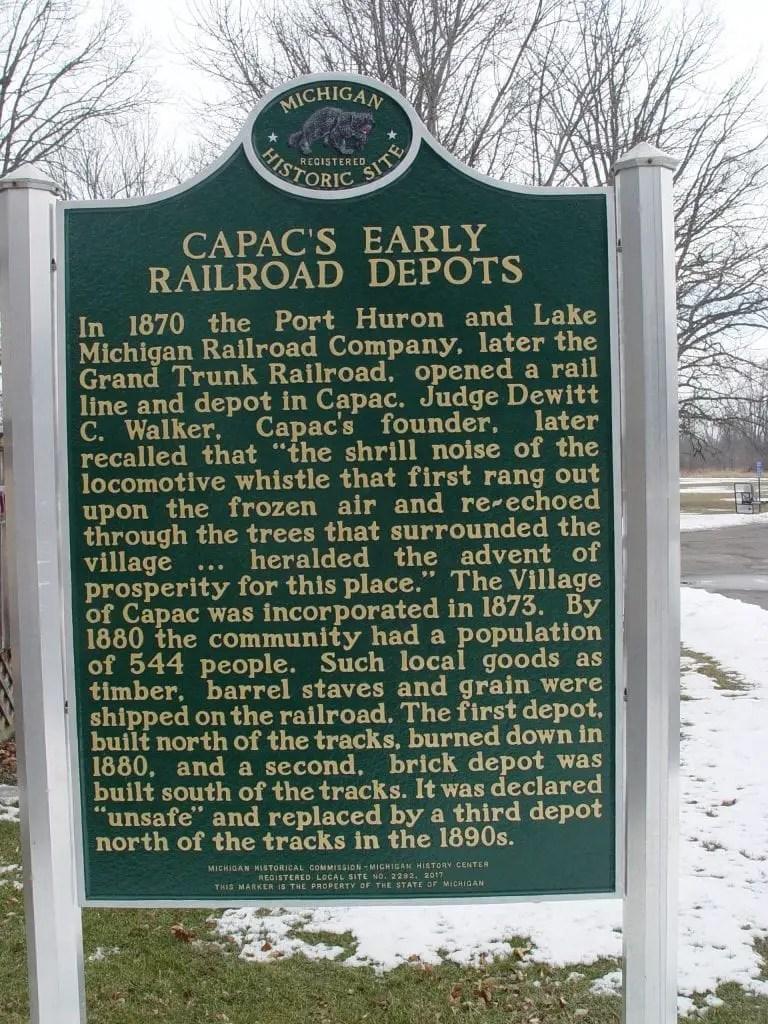 Michigan Historical Marker Capac Depot