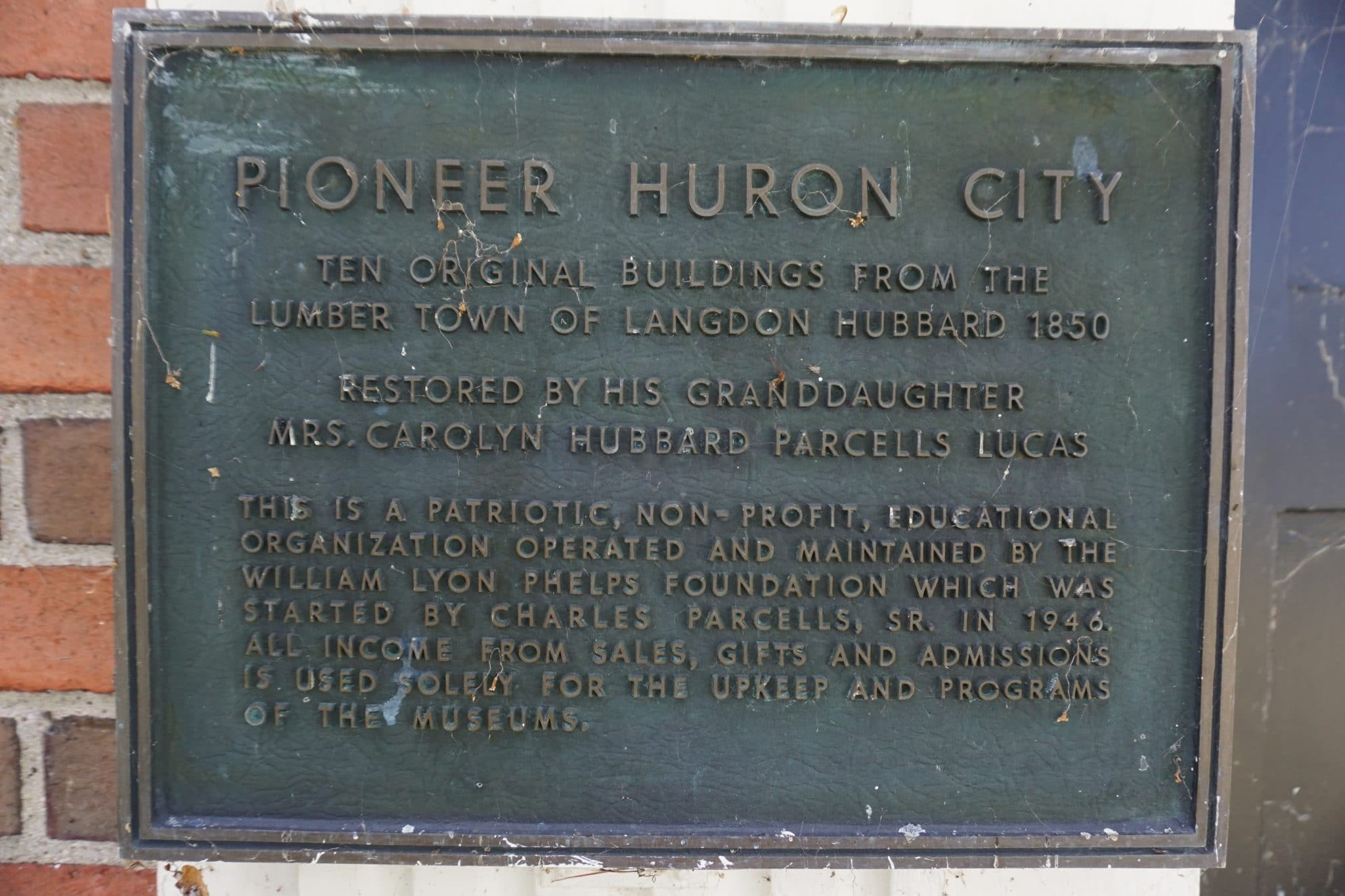 Huron City Historic Plaque