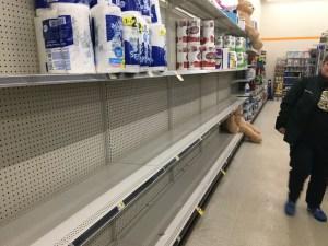 Empty Shelves from the Michigan Corona virus panic of 2020