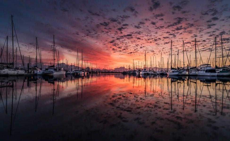 Boats in Marina Sunset