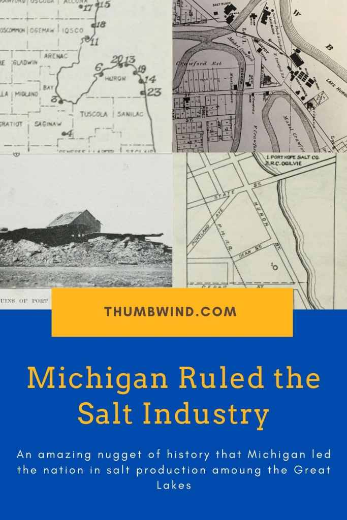 The production of salt from the deep brine wells around  the #Michigan #UpperThumb propelled the fishing industry to national prominence. because the product could be shipped preserved in barrels.  Also Michigan was the leading producer of #Salt in the late 1800s.