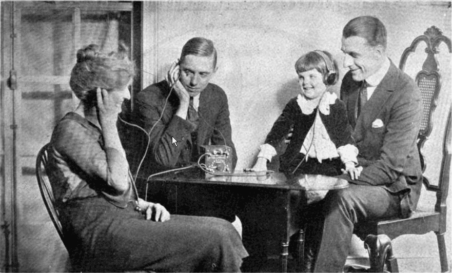 Photo of an American family in the 1920s listening to a crystal radio. WKAR
