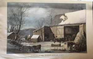 The Farm Yard Winter by Currier and Ives