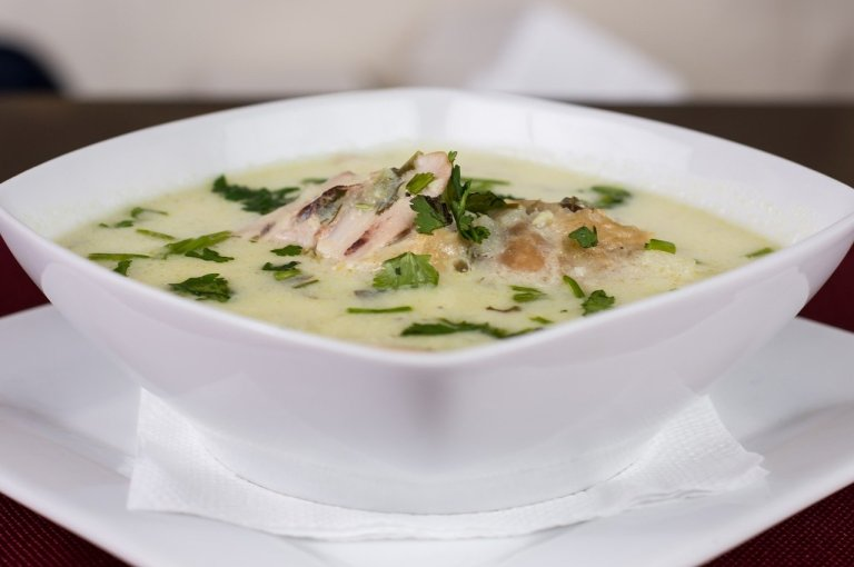 Whitefish Chowder in a White Bowl