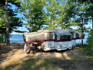Lakeside camp site at Port Crescent State Park