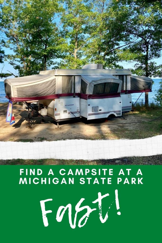 Find a an available campsite at any Michigan State Park online. This on-line service shows what's available RIGHT NOW!  Want to get out for the weekend but don't have a reservation, no problem. This service shows what's open and available. #Michigan #Camping #MIDNR #RV #Glamping