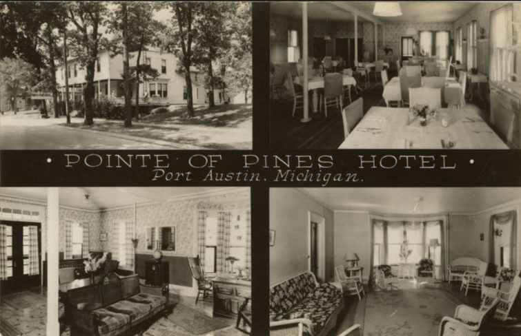Four views of the Pointe of Pines Hotel in Port Austin, Michigan, showing exterior, dining room, lobby and living room.