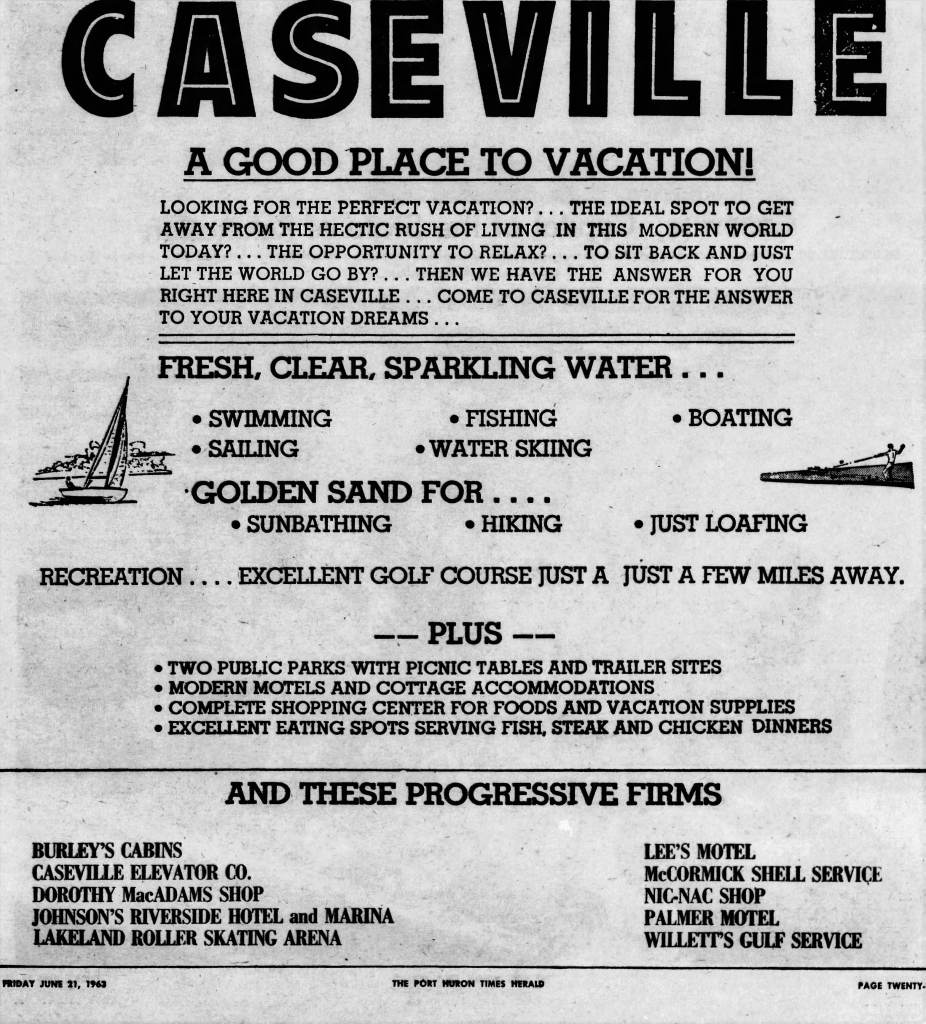 Caseville Vacation Ad 1963