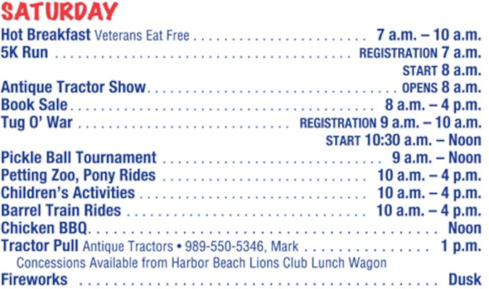 Schedule of the Port Hope Festival