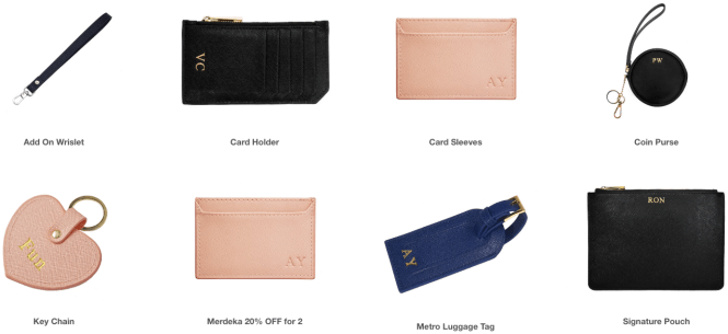 Dainty Co. personalised monogram leather good product collection