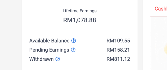 Shopback cashback lifetime earnings screenshot