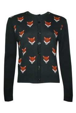 Run & Fly Vintage Inspired Fox Head Cardigan -2709