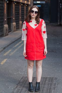 Daphnea - Red Cotton Pinafore