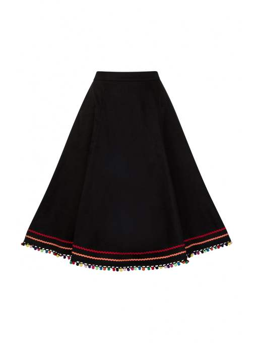 Collectif - Arianna Multi-coloured Pom Pom Skirt