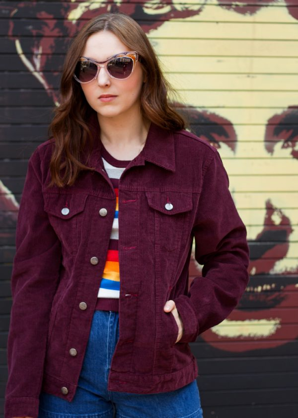 Run & Fly - Unisex Corduroy Western Jacket in Burgundy