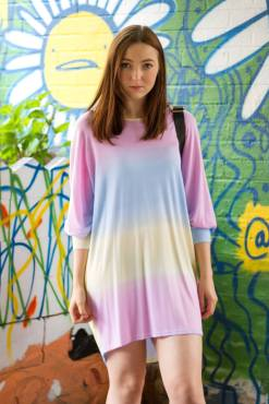 QED - Oversized Pastel Stripe T-shirt Dress