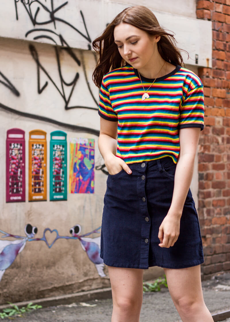 Noisy May - Navy Corduroy Mini Skirt