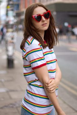 Run & Fly - Unisex White Rainbow Slim Stripe Tee