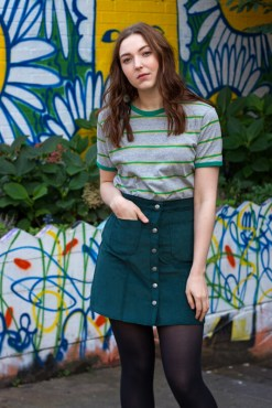 Run & Fly - Teal Corduroy Skirt & Run & Fly - Grey & Green Stripe Tee