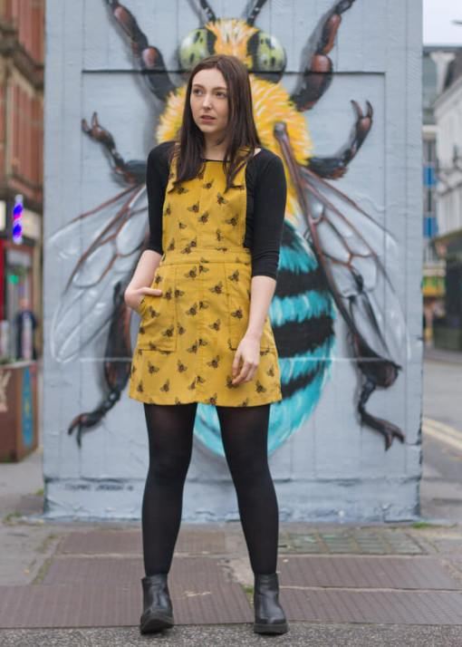 Run & Fly - Mustard Corduroy Bee Pinafore