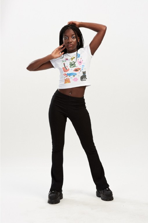 Spill The Tea - Rock Motif Crop Tee