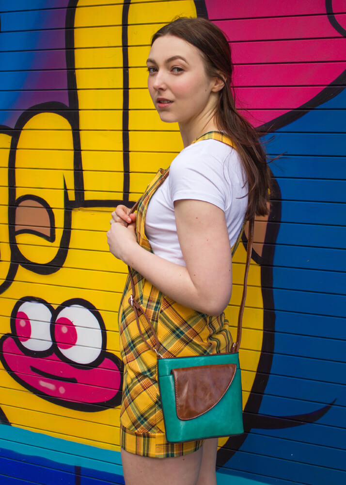 Love & Other Things - Yellow Checked Pinafore Dress & Thunder Egg - Teal Square Mini Bag
