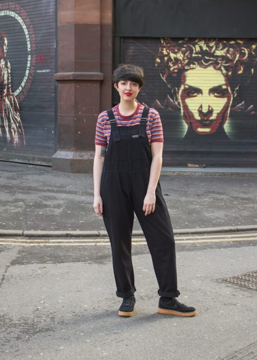 Run & Fly - Unisex Twill Dungarees in Black