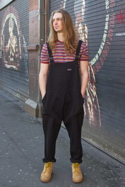 Run & Fly - Unisex Twill Dungarees in Black & Run & Fly - Unisex Burgundy Multi Stripe T-Shirt