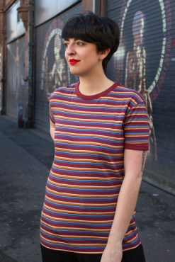 Run & Fly - Unisex Burgundy Multi Stripe T-Shirt