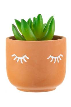 Sass & Belle - Terracotta Eyes Shut Planter