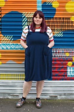 Thunder Egg - Navy Oversized Corduroy Pinafore Dress